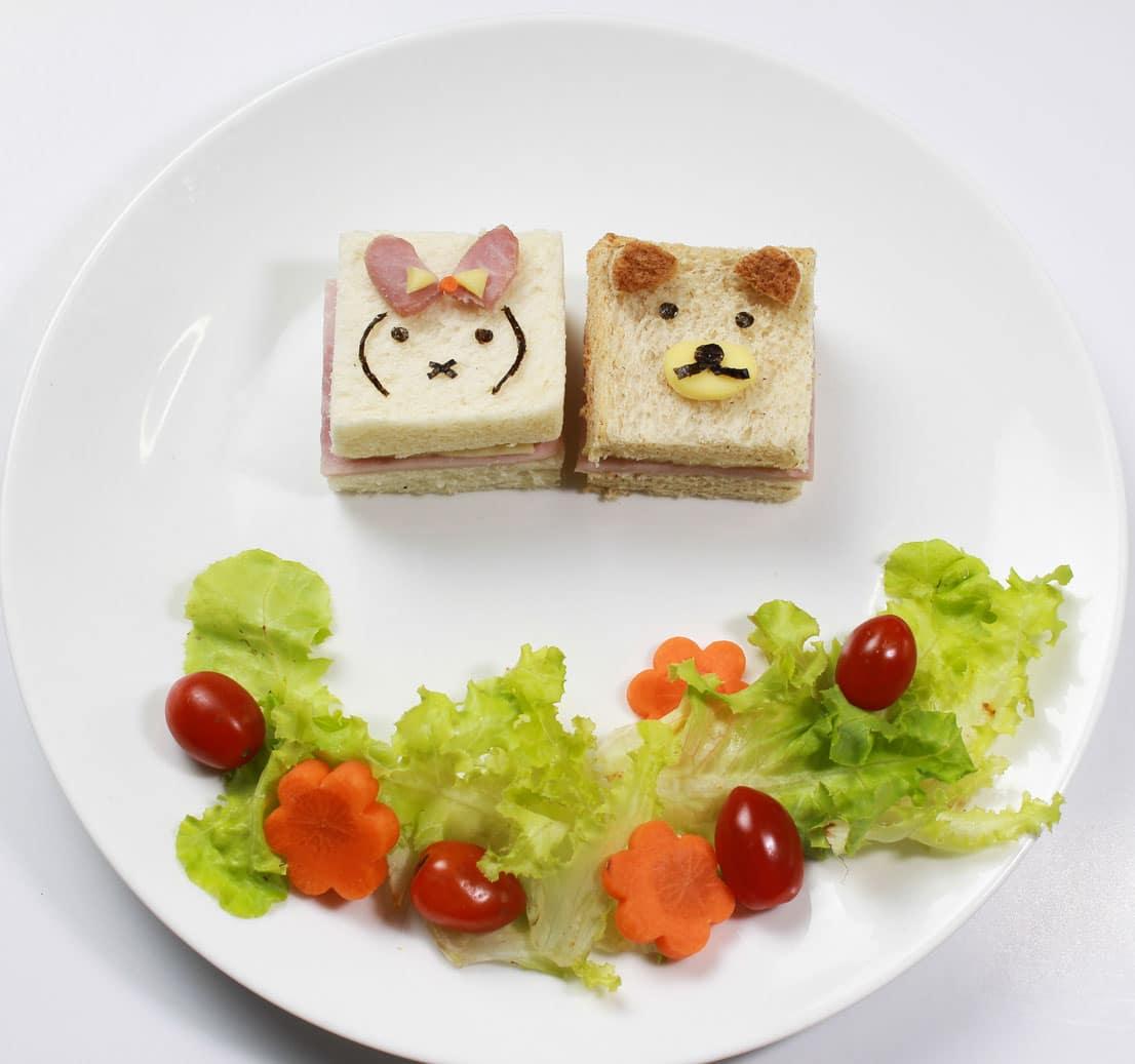 วิธีทำแซนวิชแฮมชีสหน้าหมี & กระต่าย