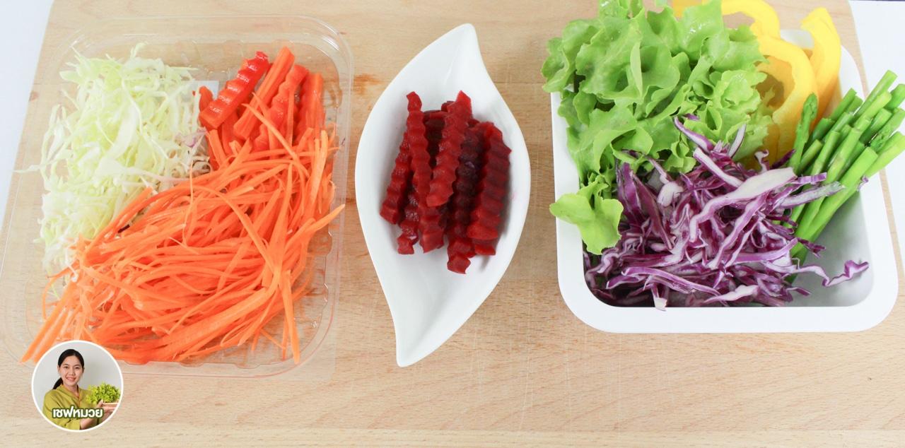 วิธีทำ สลัดโรล 7 สี (Rainbow salad) สร้างสีสันให้จานอาหารยิ่งน่าทาน