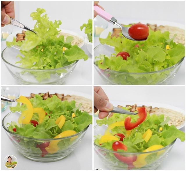 สลัดเห็ดย่าง ทานแล้วสุขภาพดี๊ดี(Grilled mushroom salad)